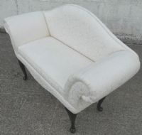 Upholstered Window Seat Settee in Antique Queen Anne Style